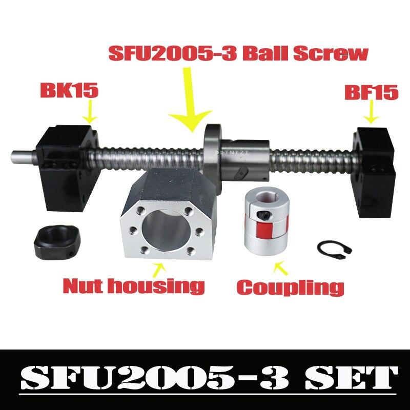 CNC Ballscrew Set: 20 MILÍMETROS parafuso da Esfera SFU2005 End Machined + Porca Bola + BK15 RM2005 BF15 Apoio Final + acoplador 6.35 x 12mm para 2005