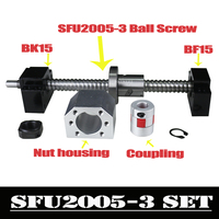 CNC Ballscrew Set : 20MM Ball screw SFU2005 End Machined + RM2005 Ball Nut + BK15 BF15 End Support+ coupler 6.35x12mm for 2005