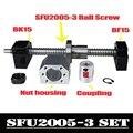 Juego de tornillos de bola CNC: tornillo de bola de 20 MM SFU2005 extremo mecanizado + RM2005 tuerca de bola + BK15 BF15 soporte de extremo + acoplador 6,35 x 12mm para 2005