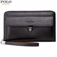 VICUNA POLO Large Capactity Antitheft Buckle Leather Men Clutch Wallet Multifunction Clutch Handbag Business Men Clutch