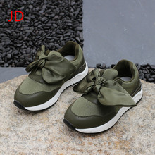 Fall Children's Leather Sports Shoes, Girls Bow Tie, Casual Shoes, Baby Fashion Shoes JIANDIAN