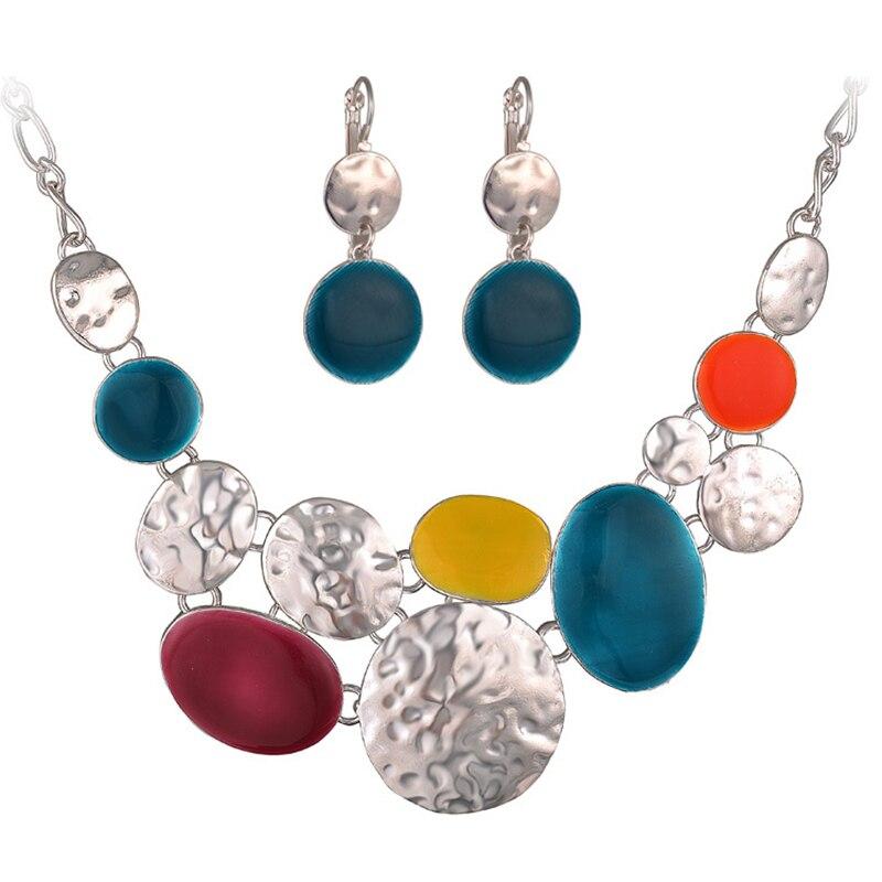 Enamel Necklace Earrings Jewelry Sets For Women Silver Color Alloy Ethnic Female Choker Necklace Drop Earrings Set Jewelry