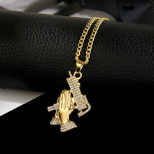Popular hip hop praying hand gun pendant necklace ladies mens rhinestone pistol and unisex jewelry