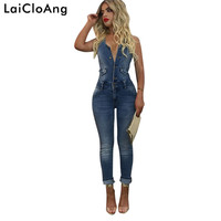 LaiCloAng Backless Sexy Bodycon Jumpsuit Romper Summer New Sleeveless Skinny Denim Women Rompers Casual Jumpsuit Women Overalls