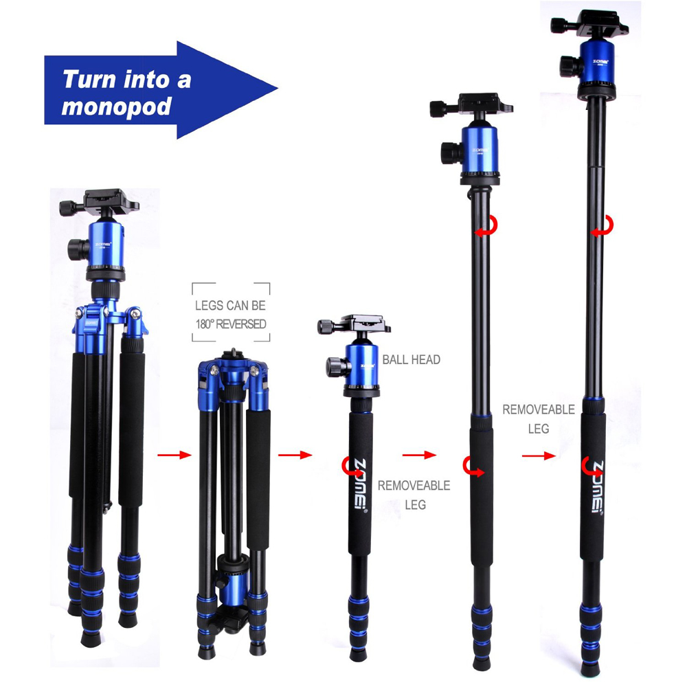 Free DHL Zomei Z888 Travel Aluminum Tripod Monopod + Ball Head 5 Optional Colors for 20lbs DV DSLR Camera Canon Nikon Sony zomei z888 portable stable magnesium alloy digital camera tripod monopod ball head for digital slr dslr camera