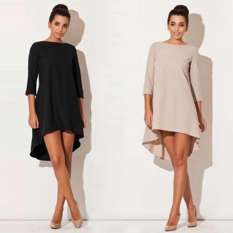 Fashion Women Dresses 2017 Sexy Loose Mini Irregular O-Neck Dress Summer Casual Elegant Dresses Plus Size LJ8789X 1