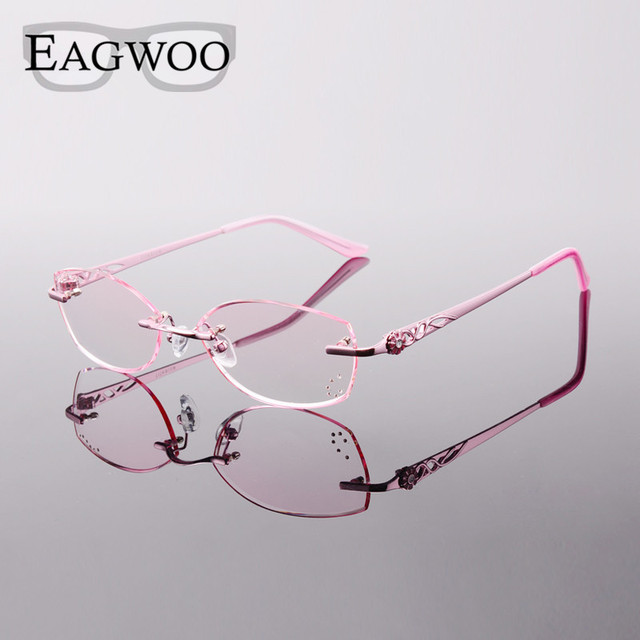 faf71ea514 Titanium Eyeglasses Women Rimless Prescription Reading Myopia Photochromic  Small Face Glasses Spectacle with Color lens 28050