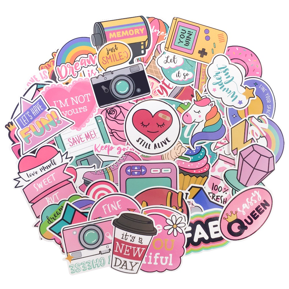 58 Pcs Pink PVC Sticker Warm Color Pvc Waterproof Sticker For Laptop Phone Guitar Room Luggage Decals Girl Toys Stickers58 Pcs Pink PVC Sticker Warm Color Pvc Waterproof Sticker For Laptop Phone Guitar Room Luggage Decals Girl Toys Stickers