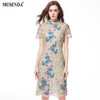MUSENDA Plus Size Mulheres Elegante Bordado Do Vintage Rendas Lápis Túnica Vestido de Verão 2017 Vestido de Verão Lady Escritório Do Partido Magro Vestidos