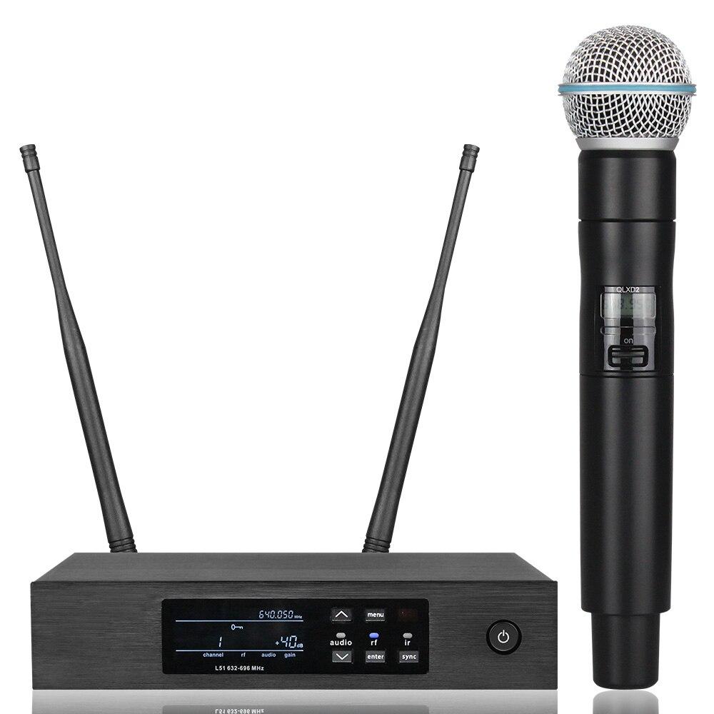 Novo! Qlxd4 digital verdadeira diversidade uhf sistema de microfone sem fio profissional único microfone portátil perfeito som estágio mic