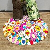 Takashi Мураками Sun Flower Doodle креативный Противоскользящий круглый ковер кабинет журнальный столик коврик для спальни M1158