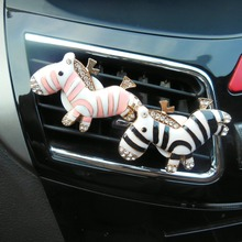 Cute Cartoon Zebra Air Freshener with Clip Car Styling Perfume For Condition Vent Outlet, 2 PERFUME FOR FREE