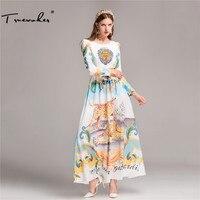 Truevoker дизайнер длинное платье Для женщин высокое качество великолепные Бисер diamond животных Printed Maxi Dress