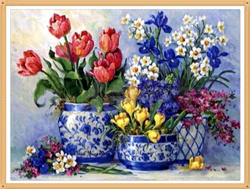 Tulip Orchid Vase 40x30cm Diy Pieno Diamante Flowers
