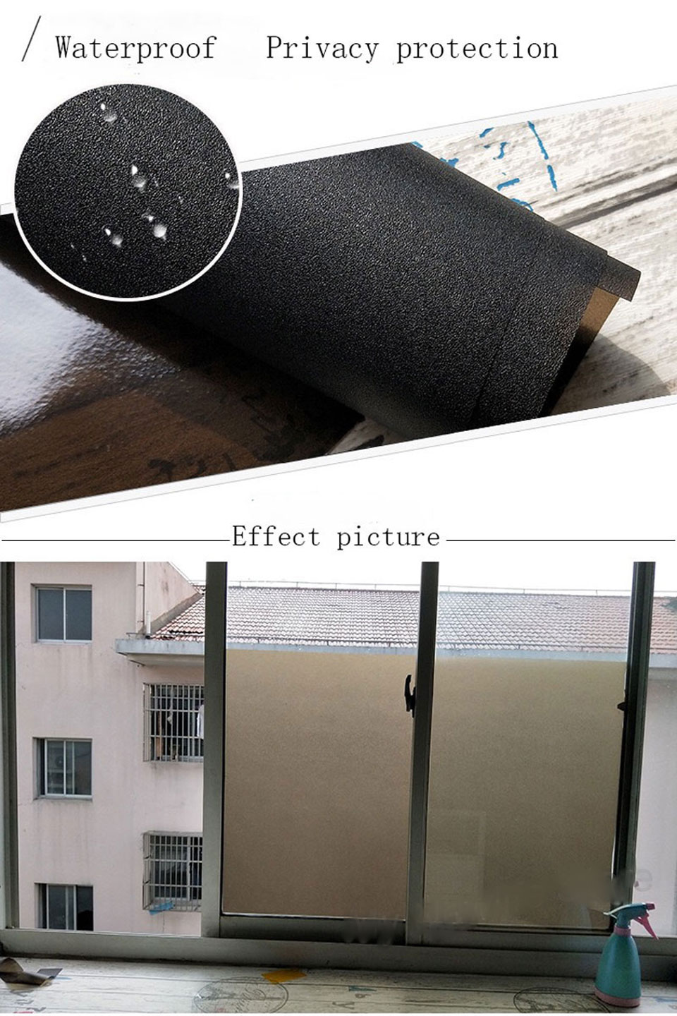 Privacy Window Film Black Frosted Static Glass Sticker Opaque Anti UV Glass Film Bathroom Bedroom door Home Decorative PVC Film in Decorative Films from Home Garden
