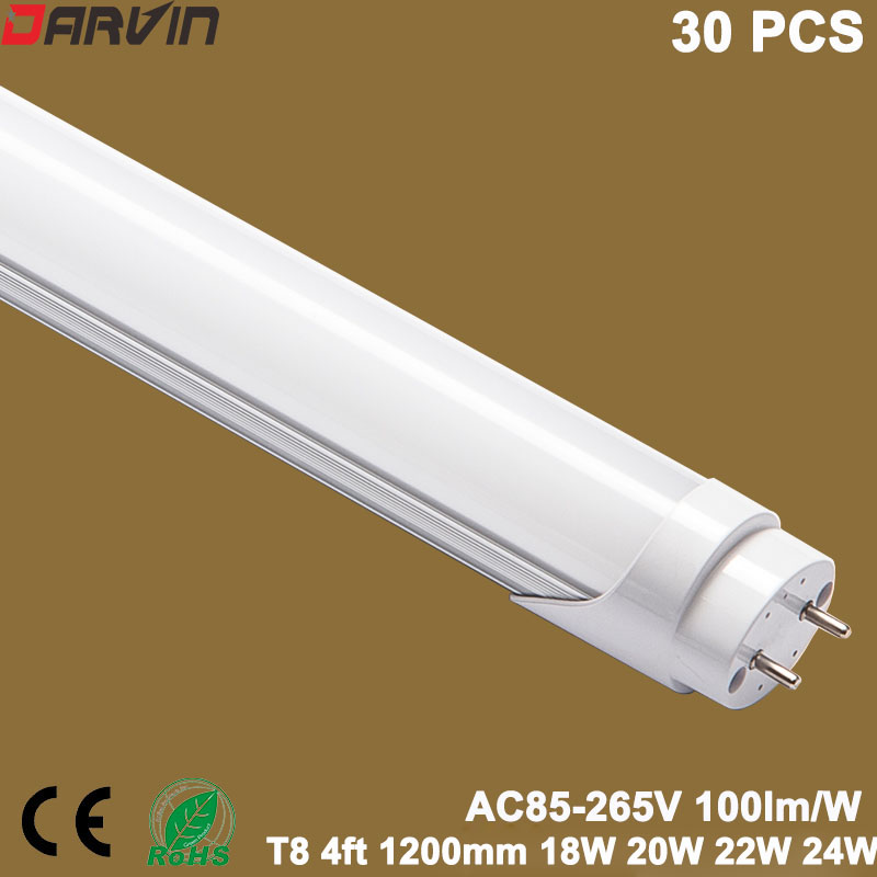 T8 4ft Led Tube 1200mm 18W 20W 22W 24W Fluorescent led Tube Lamp Light 110v 220v G13 cap 120cm Length SMD2835 free shipping 12pcs lot ip65 120cm 4ft double led tubes lighting fixture 2 18w 1 2m 1200mm waterproof tubes g13 base tube lamp