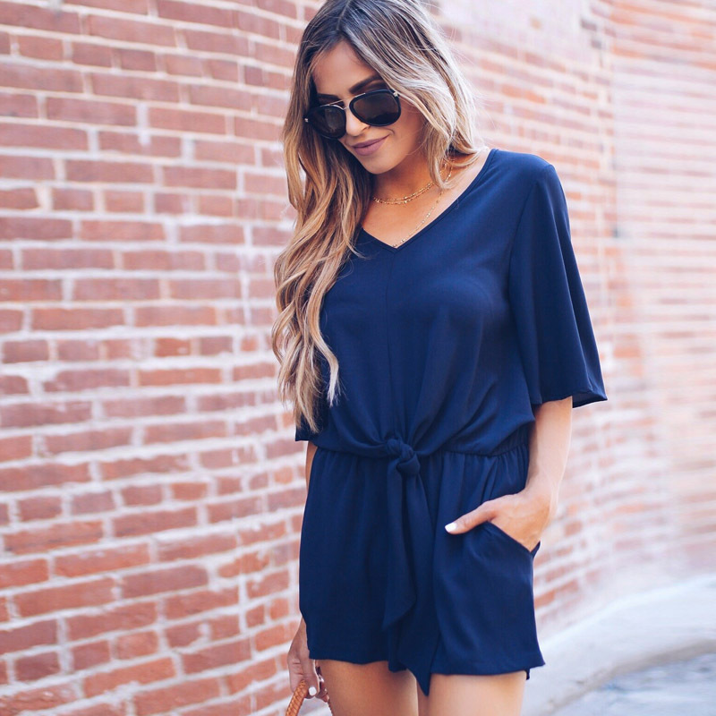 Rompers Womens Jumpsuit 2018 Summer Solid Color Women Playsuits V-Neck Tee Tops Casual Shorts Jumpsuit Romper