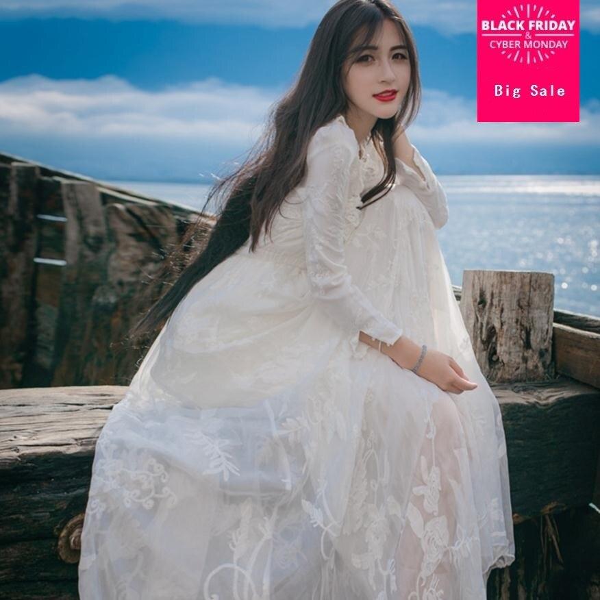 2019 printemps et été femmes nouvelle marque de mode fleur broderie rétro blanc robe taille haute était mince un mot robe wj1876