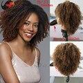Парики горячая распродажа! Афро кудрявый фронта ломбер афро странный вьющиеся волосы девственные перед человеческих волос парик для черной женщины