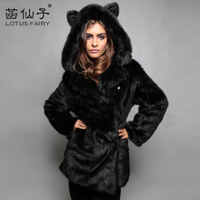 Winter warm Thick Cartoon panda Short outwear Jacket woman Fashion Luxury Faux Fox Fur Coat Women Plus Size Parka Clothing