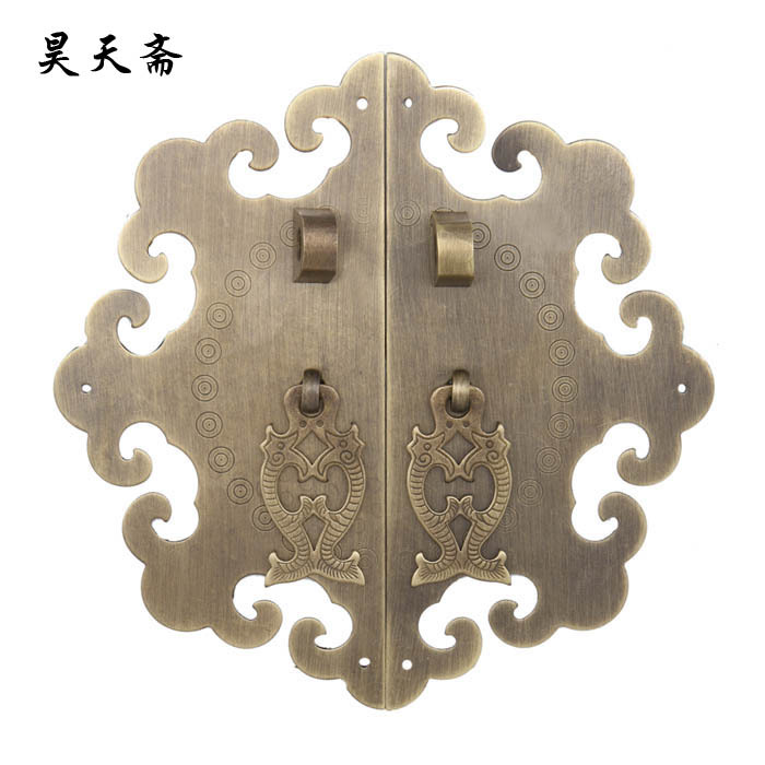 [Haotian vegetarian] clouds 15cm antique furniture Chinese copper live house door handle HTB-006 modern chinese bronze door handle door carving clouds crystal handle glass door handle antique doors