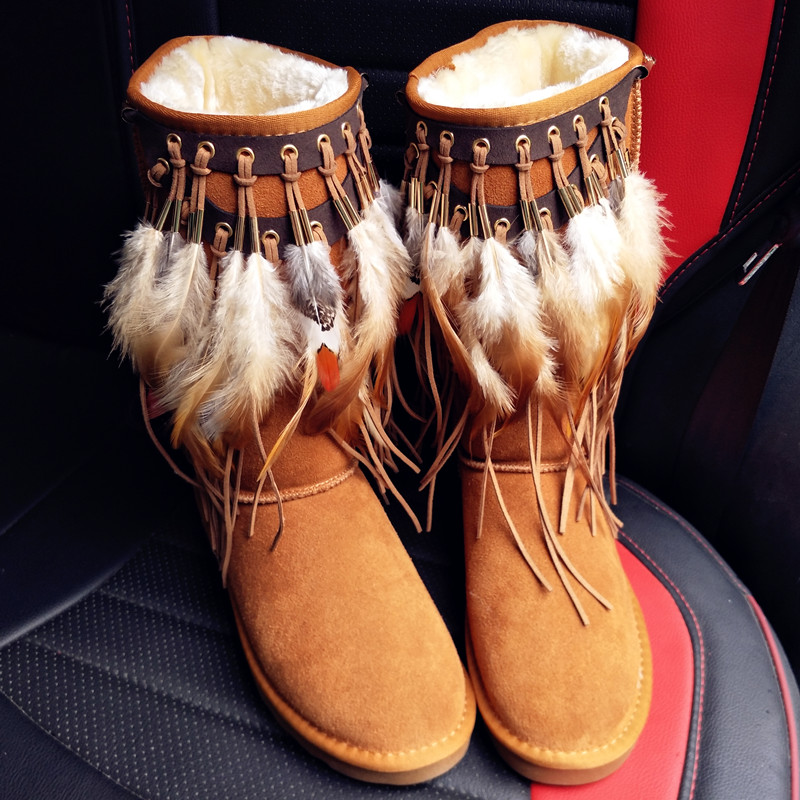 tassels feather Bohemian style Snow Boots Woman Winter Luxury women's bling bling Snow Boots warm Shiny fashion Winter Shoes tassels feather crystal rhineston snow boots woman winter luxury women s bling bling snow boots warm shiny fashion winter shoes