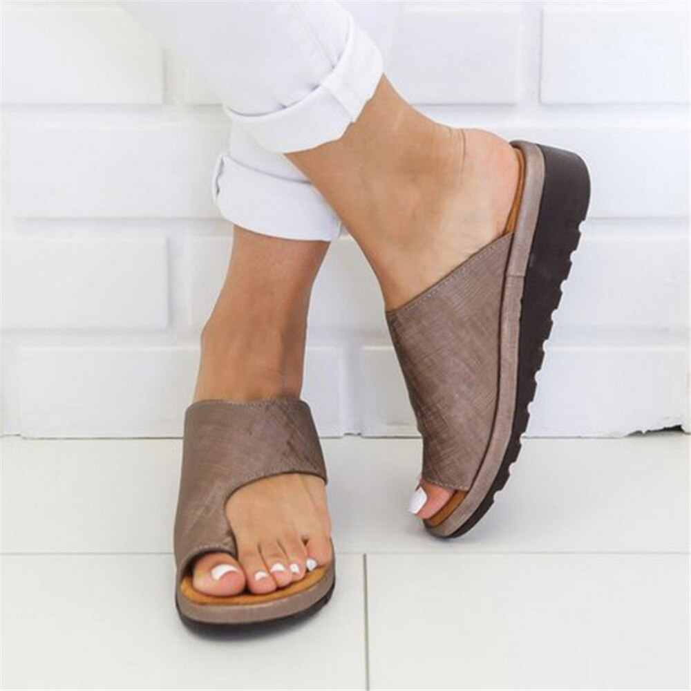PUIMENTIUA Women PU Leather Shoe Comfy Platform Flat Sole Casual Soft Big Toe Foot Correction Sandal Orthopedic Bunion Corrector