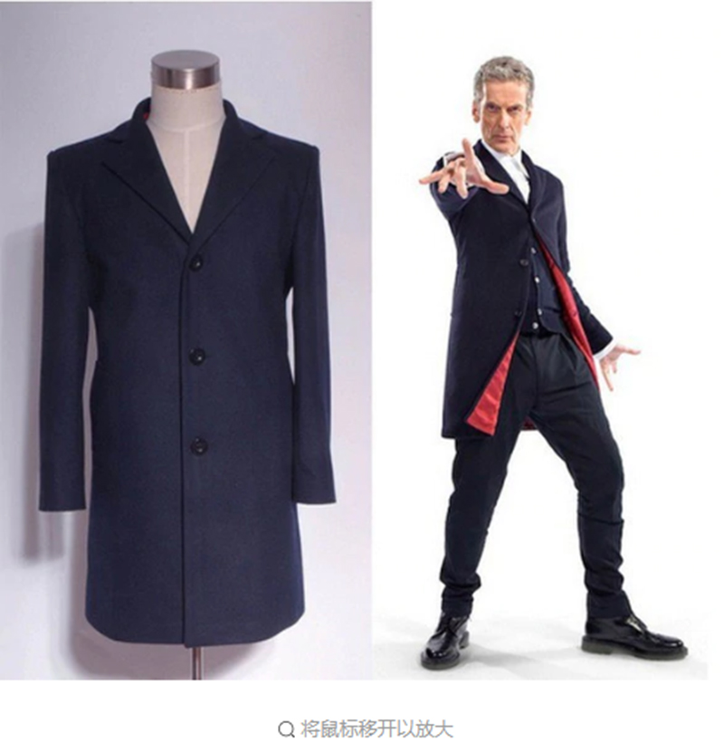 Doctor Who Cosplay Costumes Who is Doctor Twelveth 12th Dr. Dark Blue Frock Coat Custom Made