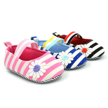 Baby Girl Striped Shoes, Little Pricess First Walker, Baby Shoes, Soft Flower Print Baby Walkers, 0-1 Years