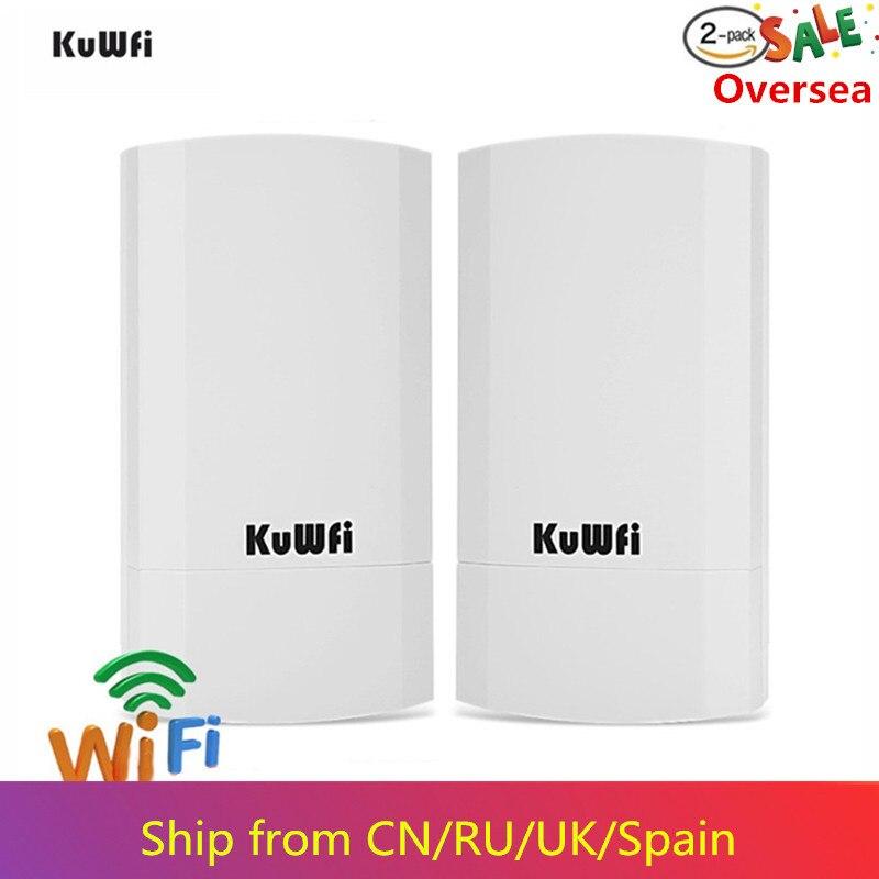 KuWfi Routeur 2KM Routeur Sans Fil 300 Mbps Extérieur & Intérieur Kit Routeur CPE Pont Sans Fil Wifi Répéteur Support WDS Longue Portée