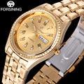 2017 forsining calendário data semana de moda marca relógios homens casuais algarismos romanos relógio de design do relógio dos homens de ouro rhionstone q909