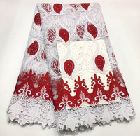 2019 Latest style French Lace Fabric White Red color With Stones African Lace French Lace Leaf Fabric