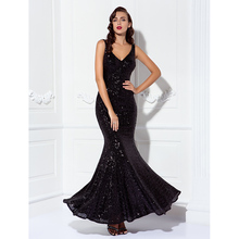 TS Couture Mermaid Trumpet Prom Dress Long 2018 V Neck Floor Length Sequined Prom Black Tie Gala Dress Evening Party Gowns