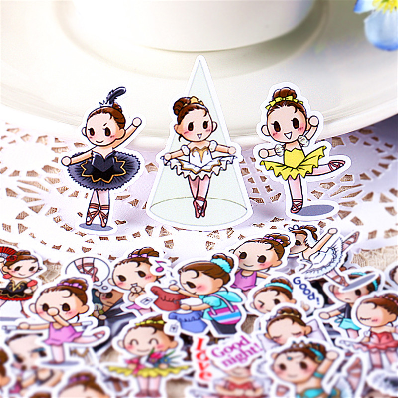 35 PCS Cartoon Dancing Girl Paper Stickers Crafts And Scrapbooking Stickers Kids Toys Book Decorative Sticker DIY Stationery