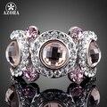 АЗОРА Платиновым Покрытием 3 шт. Розовый Stellux Австрийский хрусталь Глаза Кольцо TR0114