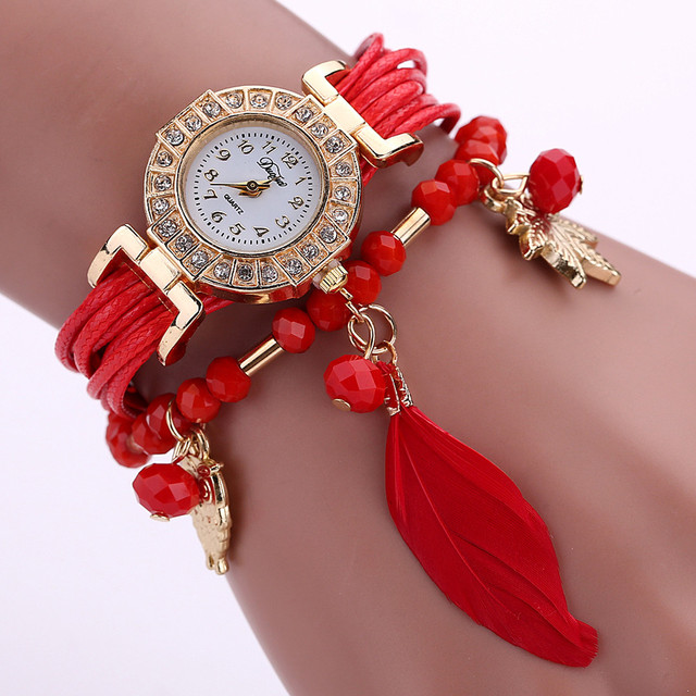 Hot fashion creative watches Feather Weave Wrap Around Bracelet Watch Crystal Sy