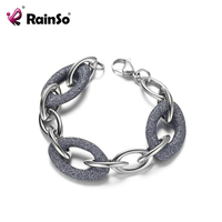 Rainso 2019 New 316L Stainless steel Bracelets for Women Elegant Link Chain Unique Design Mineral Powder Bracelet for Party