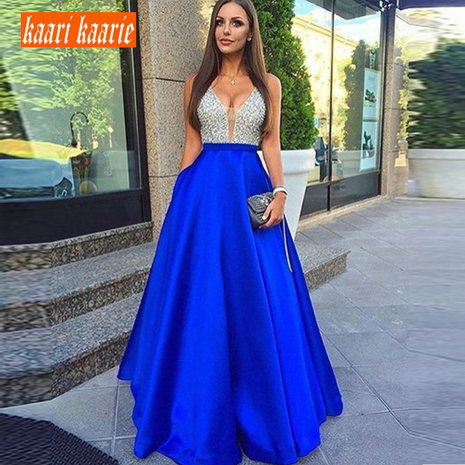 Sexy Royal Blue   Evening     Dresses   2018   Evening   Party Gowns Long Formal V-Neck Satin Beading Backless Beach Cheap Women   Dress   Prom