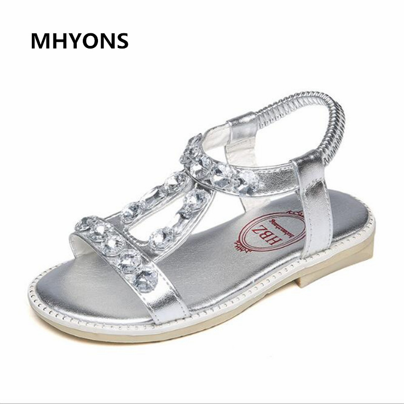MHYONS 2017 New Style Korean Summer Girls Sandals Children Shoes Female Genuine Leather Bow Kids Sandals