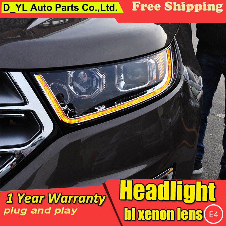 D YL Car Styling for Ford Edge Headlights 2015 Edge LED Headlight DRL Lens Double Beam