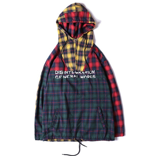 2018 Spring Men Multicolor Patchwork Plaid Hooded Pullover Male Long Sleeve Letter Printed Hip Hop Oversized Casual Cotton Shirt