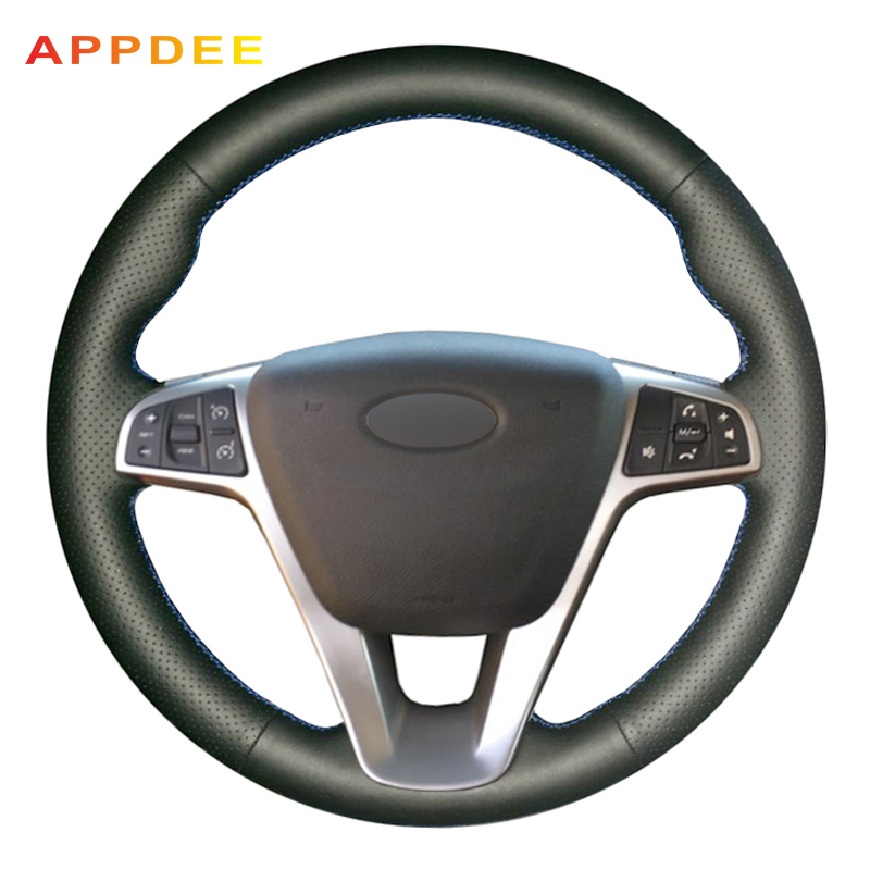 APPDEE DIY Black Genuine Leather Hand-stitched Car Steering Wheel Cover for Lada Vesta 2015 2016 2017APPDEE DIY Black Genuine Leather Hand-stitched Car Steering Wheel Cover for Lada Vesta 2015 2016 2017