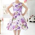 summer Fashion Girls Dress Sleeveless Blooming Flower Garden Print violet Girl Dresses Princess Dress