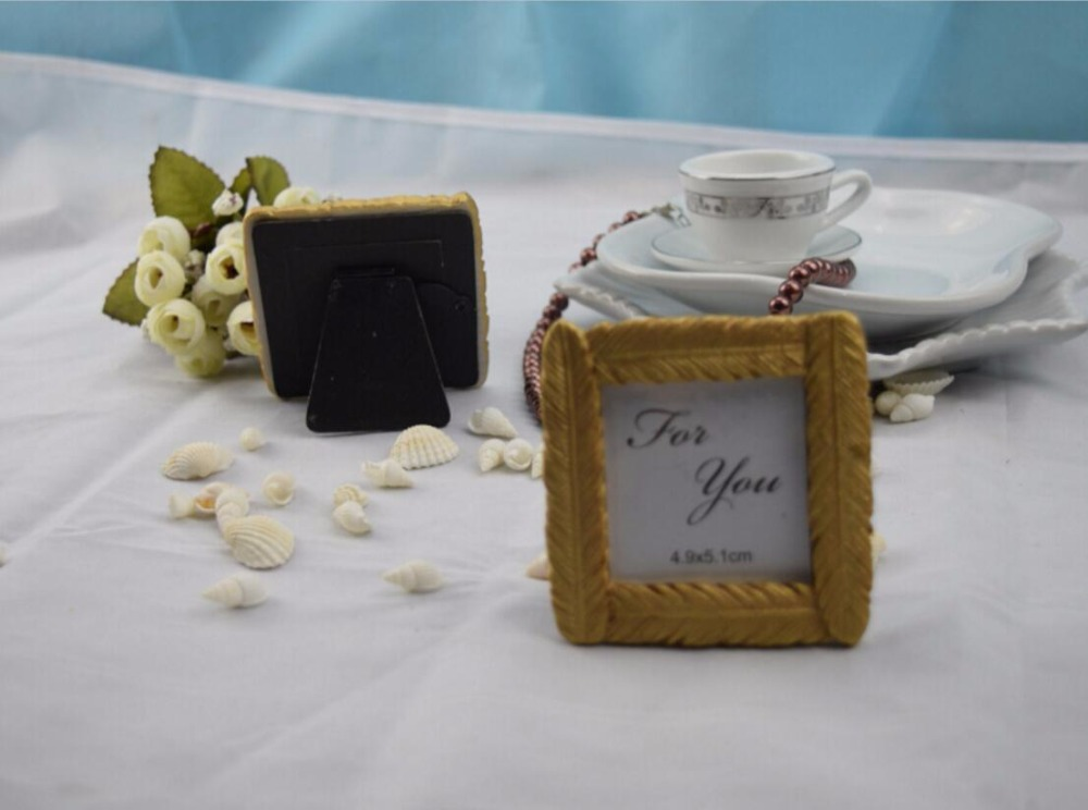10pcs Mini Gold Feather Photo Frame For Wedding Baby Shower Party ...