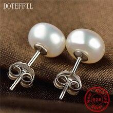 Hot Sales 100% Genuine Freshwater Pink Pearl Earrings 925 Sterling Silver Stud Earrings For Women 7-8mm Pearls Jewelry цена 2017