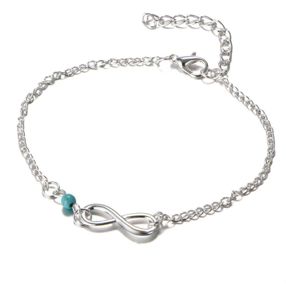 """2017 Hot Words of """"8"""" Ankle Bracelet Silver Titanium Steel Women Girl Lover Sandal Barefoot Anklet Fashion Foot Chain Jewelry"""