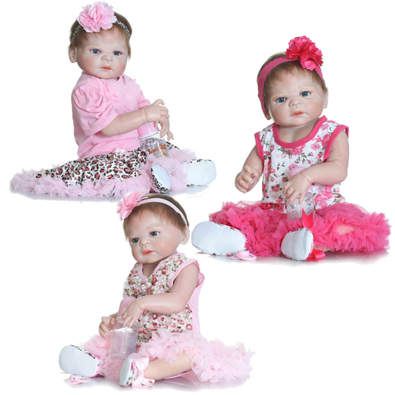 55cm Girl Baby Dolls 22inch Full Body Silicone Reborn Dolls BeBe Reborn Lifelike Newborn Bonecas Toys Realista Doll Brinquedos 22inch 55cm silicone vinyl reborn baby dolls fashion bebe princess reborn girl dolls toys with red dress set bonecas