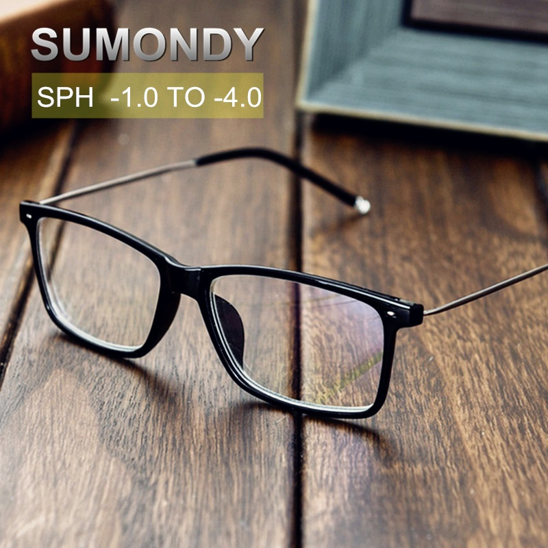 SUMONDY Diopter -1.0 To -4.0 Fashion Finished Myopia Glasses Women Men Brand Designer Nearsighted Spectacles End Product UF31