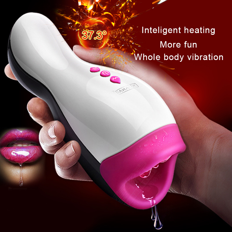 Intelligent Heating Masturbator Cup,Realistic Blowjob Sex Machine, Sex Toys for Men,Male Suck/Licking Penis Massage Cup Sex Shop heating oral sex cup male masturbation vibrator for men massage cup suck silicone sex toys for men adult sex product shop