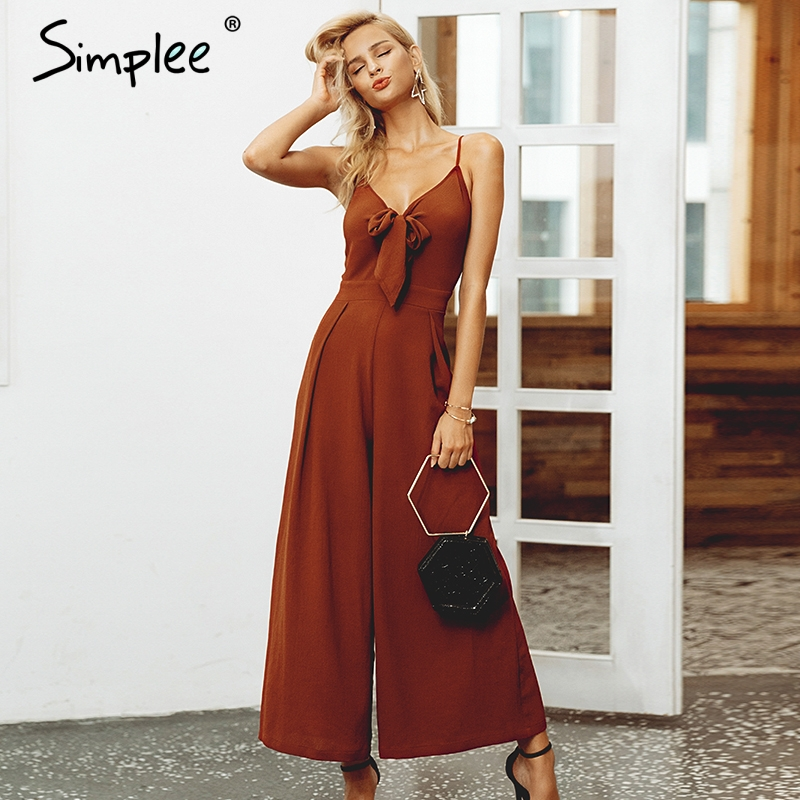 Simplee Bow tie adjustable women   jumpsuit   Elegant solid spring 2019 long   jumpsuit   Chic wide leg casual streetwear sexy   jumpsuit